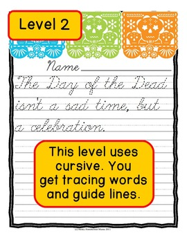 Day of the Dead Copywork Combo Pack with Levels 1 - 4 for Print and Cursive