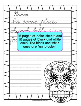 Day of the Dead Copywork Level 2 for Cursive