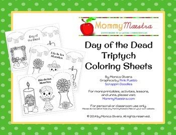 Day of the Dead - Día de los Muertos - Triptych Coloring Pages