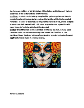 Day of the Dead - Dia De Muertos review lesson facts questions vocab word search
