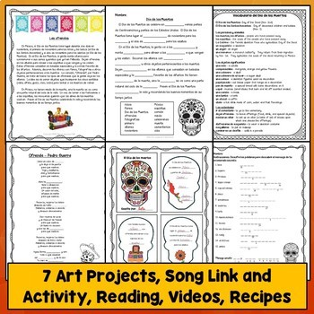 Spanish Day of the Dead Día de los Muertos, PowerPoint, Videos, Crafts, Bundle