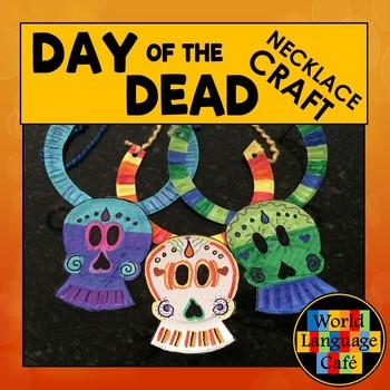 Day of the Dead Craft, Día de los Muertos, Craftivity Skull Necklace Art Project