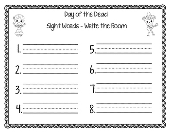 Day of the Dead(Dia de los Muertos) - English Sight Words Write the Room