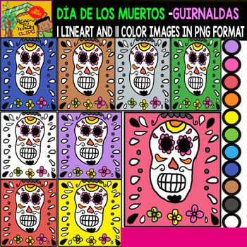 Day of the Dead / Dia de los Muertos - Guirnaldas - Clipart Set - Freebie
