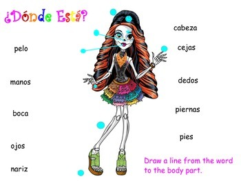 Day of the Dead Dia de los Muertos Learning Spanish Body parts activity