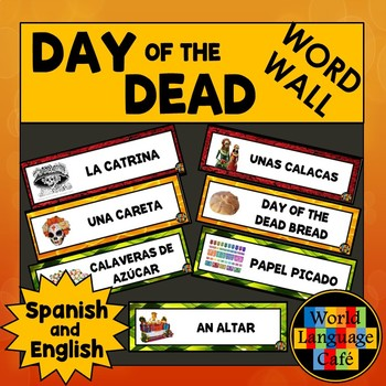 English Spanish Day of the Dead, Día de los Muertos Word Wall Words