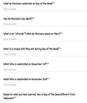 Day of the Dead/Día de los Muertos- individual google activities