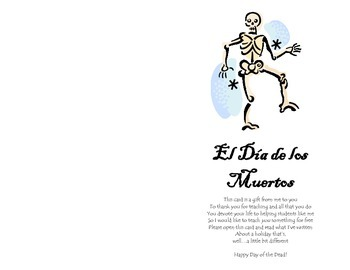 Day of the Dead (Día de los muertos) Card for Teachers Template