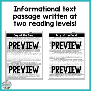 Day of the Dead Differentiated Informational Text Reading Passage & Activities