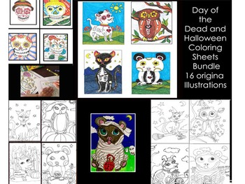 Day of the Dead & Halloween Coloring Bundle
