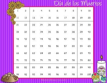 Day of the Dead - Día de los Muertos - Hundred Chart
