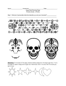 Day of the Dead Mexican Sugar Skulls Worksheet