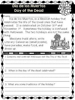 Day of the Dead Non Fiction Text and Questions