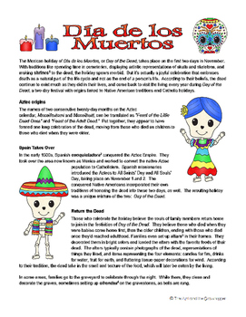 Day of the Dead Nonfiction Passage and Question Set - Upper Grades
