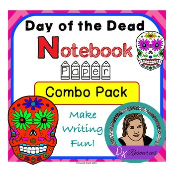 Day of the Dead Notebook Paper Combo Pack Guide Lines and Wide Rule