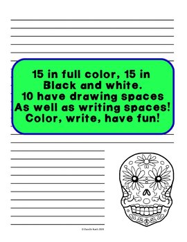 Day of the Dead Notebook Paper to Make Writing Fun! -30 Sheets! Wide Rule