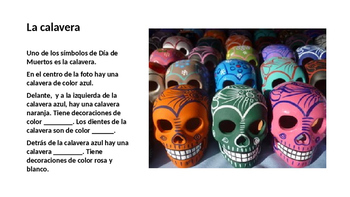 Day of the Dead pictures to practice the vocabulary of clothing and colors