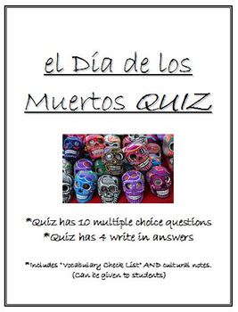 Day of the Dead Quiz - (el dia de los muertos) - Includes Vocab/Culture Notes