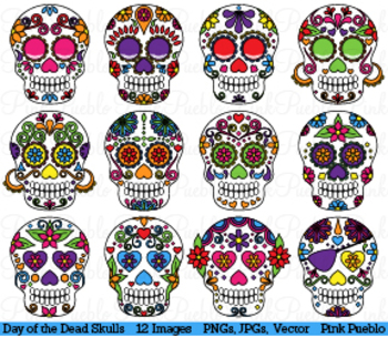 Day of the Dead Skulls Clipart