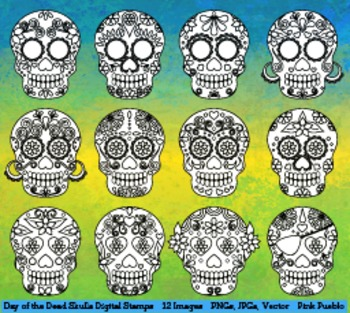 Day of the Dead Skulls Clipart Clip Art, Sugar Skulls Digital Stamps