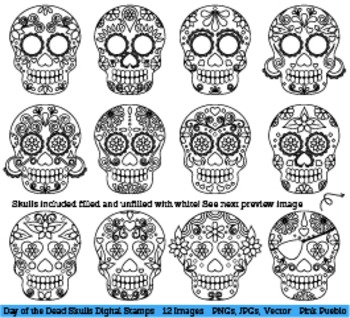 Day of the Dead Skulls Clipart Clip Art, Sugar Skulls Digi