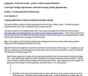 Day of the Dead Unit & Lessons- Spanish 2-3 - Reading-Spea