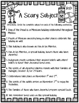 Day of the Dead Subject and Predicate Practice