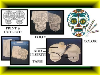Day of the Dead & Halloween Sugar Skull Large Fold-Em Writing Activity