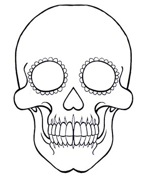 Sugar Skull Drawing Template from ecdn.teacherspayteachers.com