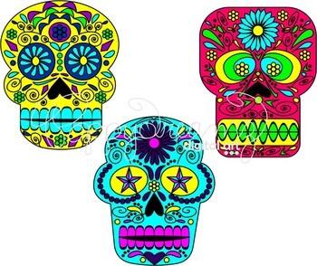 Day of the Dead Sugar Skulls Clipart by Poppydreamz
