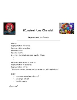 Day of the Dead Upper Level Vocab. & Ofrenda Project