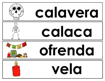 Day of the Dead Vocabulary Cards (SPANISH)