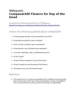 Day of the Dead Webquest: Cempasúchil (Flower of the Dead)