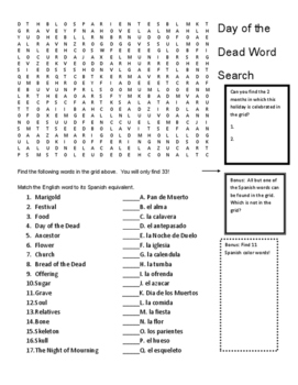 Day of the Dead Word Search Activity