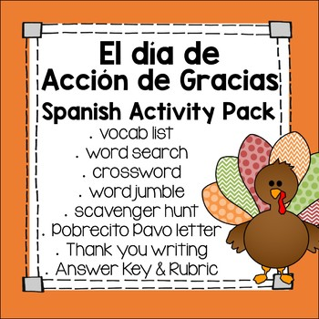 Día de Acción de Gracias Spanish Activities for Thanksgiving