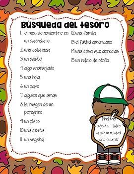 Día de Acción de Gracias Spanish Activities for Thanksgiving