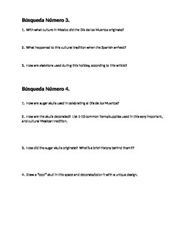 Day of the Dead worksheet (for use with ipads or smart phones)