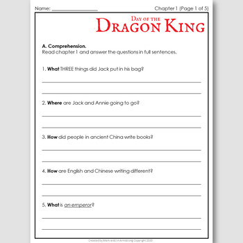 Day of the Dragon King, an English Novel Study for Japanese Students