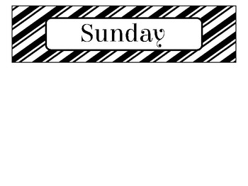Day of the Week Labels in Black and White Theme