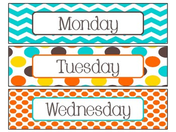 Day of the Week Labels in Candy Colors Theme
