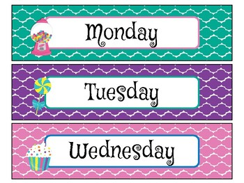 Day of the Week Labels in Candy Shop Theme