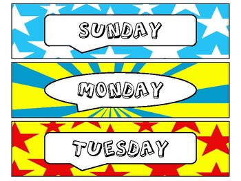 Day of the Week Labels in Comic Book Theme