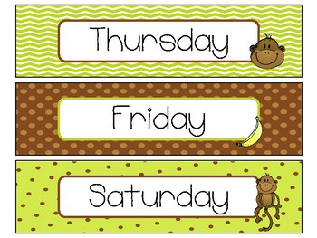 Day of the Week Labels in Monkey Theme