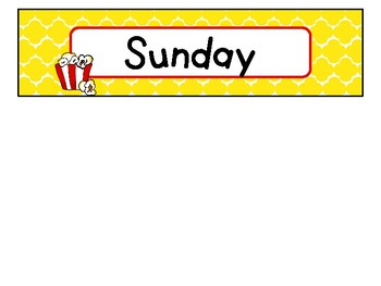 Day of the Week Labels in Popcorn Theme