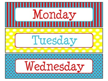 Day of the Week Labels in Primary Colors Theme
