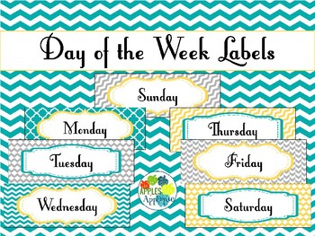 Day of the Week Labels in Yellow Teal and Gray