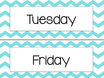 Day of the Week & Monthly Calendar Headers in Bright Chevron