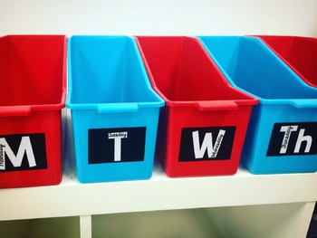 Day of the Week Organizational Labels