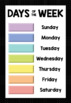 Day of the Week & Weather Display Chart - Posters