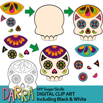 Day of the dead clip art / DIY Sugar Skulls Clipart for Craftivity